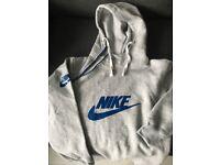 Girls Nike Hoodie -Size M- Grey Hoodie with blue Nike logo