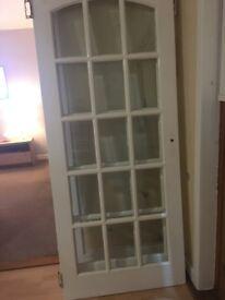 4 hardwood glazed doors painted white