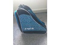 Blue leopard print ice skate bag