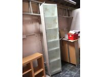 Ikea white Billy bookcase with glass door