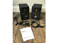 2X Adam A5X Studio Monitors with manuals and power cables