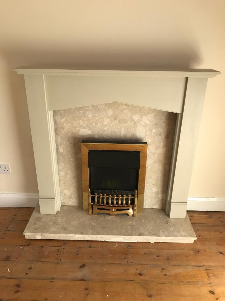 Electric fire, full Marble hearth and surround and