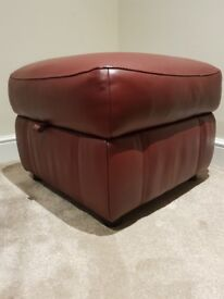 High Grade Leather storage footstool, from Furniture Village Ronson range in claret red
