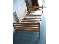 Single pine bed frame and slats