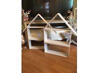 Set of two house shaped shelves
