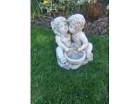 Stone garden boy and girl statue, planter, lovely detail. New