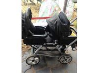 mamas and papas twin pushchair with rain covers
