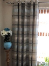 Duck egg blue and brown lined curtains