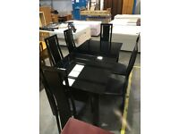 Black Glass Extendable Dining Table With 6 Chairs