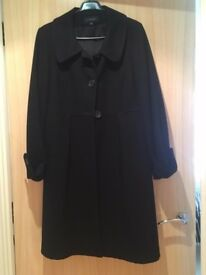 Womens long black woollen coat - size 14