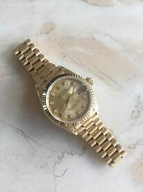 ROLEX DATEJUST 69178 18CT YELLOW GOLD WITH DIAMONDS DOT GOLD DIAL 1990 MODEL LADIES GENUINE WATCH