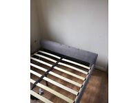 Double grey fabric bed frame