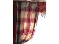 Red and cream checked curtains