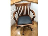 Wooden office / swivel chair height adjustable captains chair