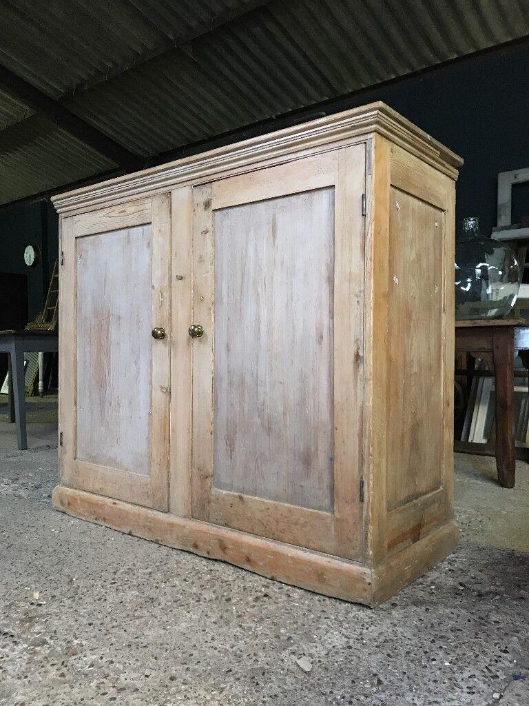 Victorian Antique Country Farmhouse Linen Larder Cupboard