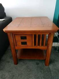 Pair of hardwood side tables
