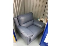 Dark Blue Leather Electric Reclining Chair