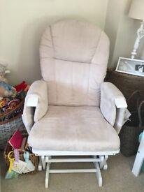 White wood baby nursary rocking/gliding chair