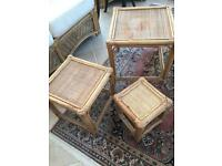 Space saving set of 3 wicker tables