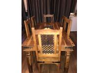 Jali Sheesham Indian Dining Table with 6 Chairs
