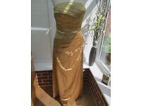 GOLD SATIN DRESS IDEAL BRIDESMAID/PROM