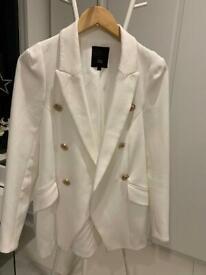 River Island formal white suit jacket UK 8