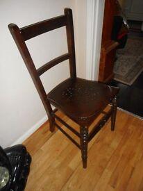 vintage small dark wood chair
