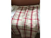 Pink & white mid length curtain