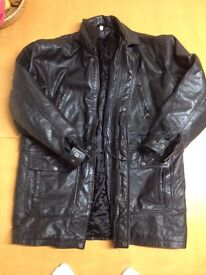 RETRO / VINTAGE EX-POLICE MOTORCYCLE LEATHER JACKET POSSIBLY 1980'S USA