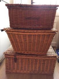 Three large wicker baskets