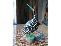 FUNKY POLISH HAND-CARVED & PAINTED GUINEAFOWL BY ANDRZEJ GRACZYK.