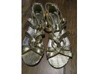 Gold flat ladies sandals. Debenhams
