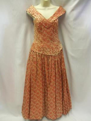 Peach And Gold Wedding (1940s / 1950s Peach and Gold Brocade Evening Dress Stunning)
