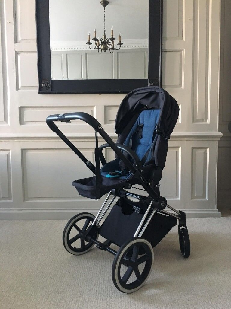 Cybex Priam Chrome frame Trekking wheels and Lux seat in blue