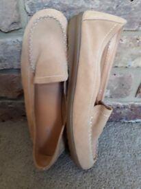 Footglove wider fit Slip on Ladies shoe sandy suede look UK 7.5