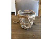 x6 GLASS TWINE ROPE HANGING VASES