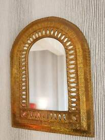 Small, Decorative, Brass Morrocan Arched Mirror