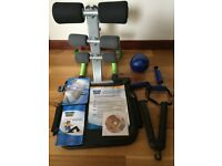 TOTAL CORE ABDOMINAL EXERCISE MACHINE WITH GYM BALANCE BALL AND DVD.
