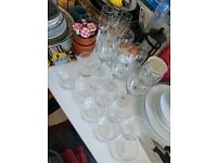 Glass set: 10 Tumblers, 6 Wine glasses and 4 Champagne Flutes