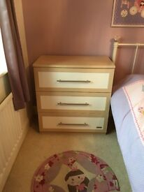 Nursery chest of drawers and cot bed