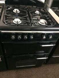 Black leisure 60cm gas cooker grill & double ovens good condition with