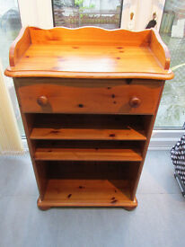 Solid Pine Unit with Drawer and Shelves