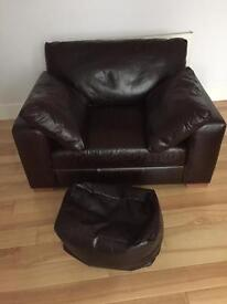 Leather snuggle chair.