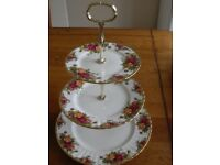 Royal Albert County Roses 3 tier Cake Stand & matching Sandwich Plate