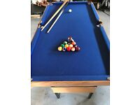 Snooker and Pool table, folding for easy storage, 4FT 6 inches. Includes pool balls and cues