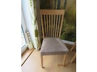 3 Dining Chairs. light brown upholstery. Excellent condition