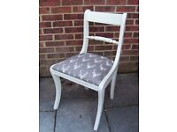 Lovely Shabby Chic Dining/Living/Bedroom Chair Painted in Antique White and reupholstered in Stag