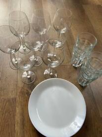 Dinner bundle. Wine glass, plates, serving.