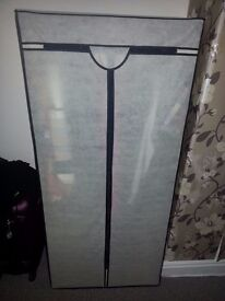 Double cream canvas and metal frame storage wardrobe