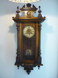 "Vienna Walnut Cased Pendulum Chiming Wall Clock Carved Portrait + Key 40"" lovely"